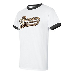 Cotton Ringer Tee with ACE Logo - White/Black