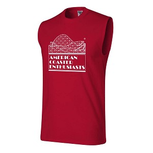 Cotton Sleeveless Tee with ACE Logo - Red
