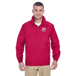 Adult Full-Zip Hooded Pack-Away Jacket - Red